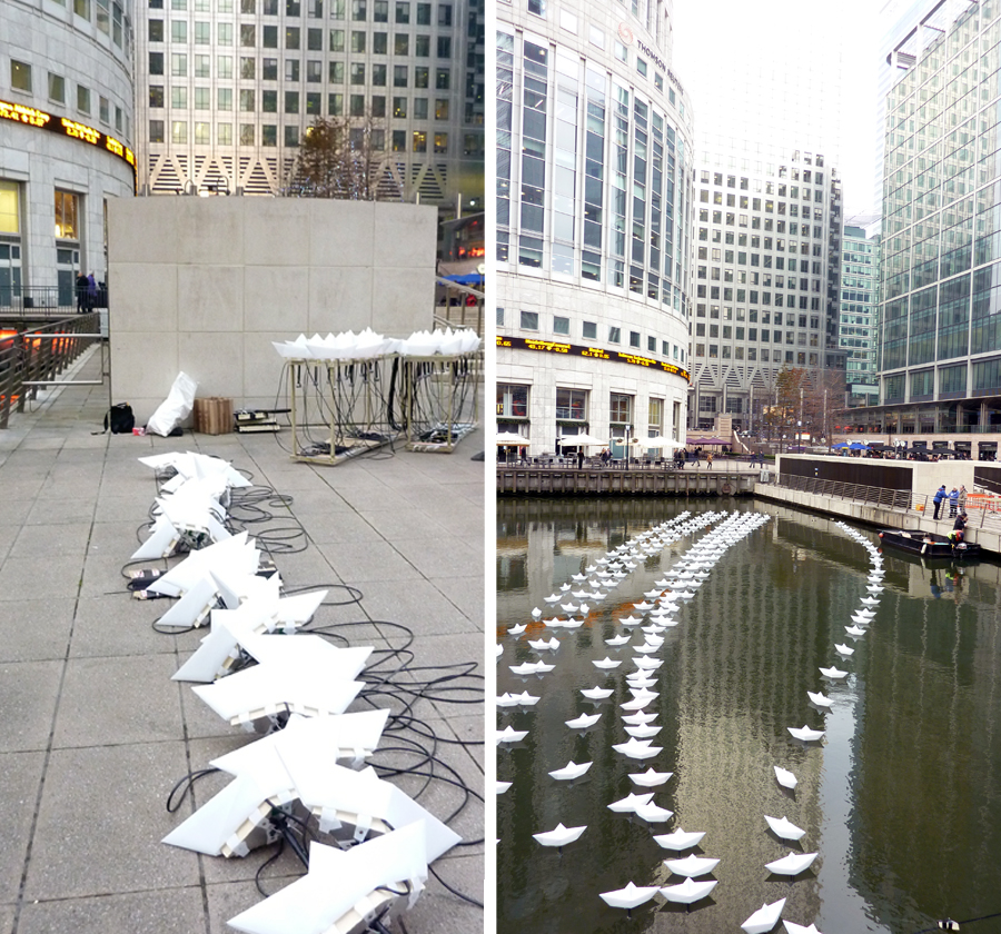 Installing Voyage in Middle Dock of Canary Wharf