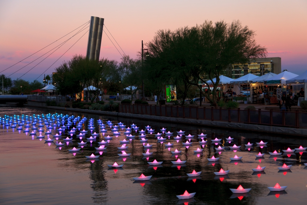 VOYAGE, flotilla, origami boats, lit, paper boats, floating , from London, to Arizona