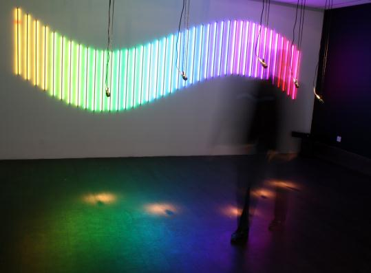 Interactive light and sound installation using Artificial intelligence software